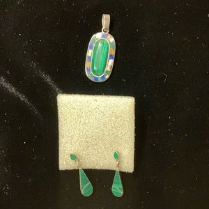 Sterling silver slide for necklace with earrings